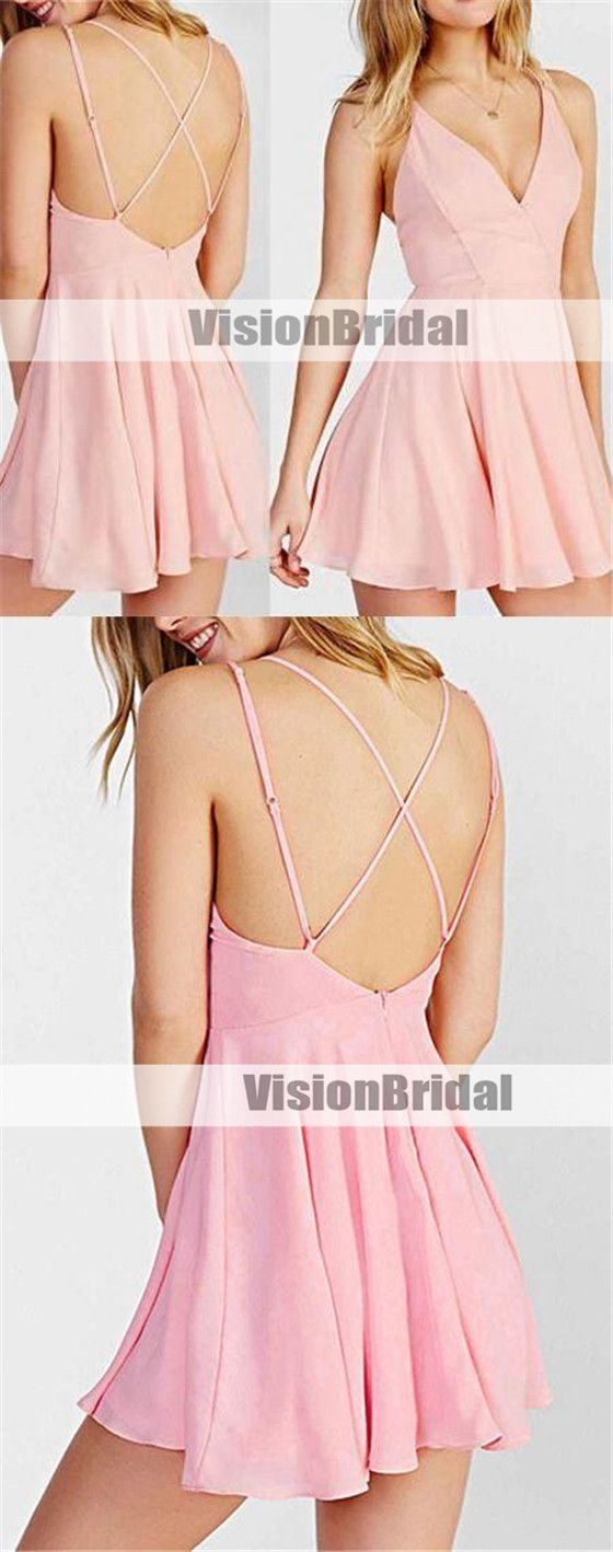 Simple pink spaghetti straps crisscross back aline short homecoming