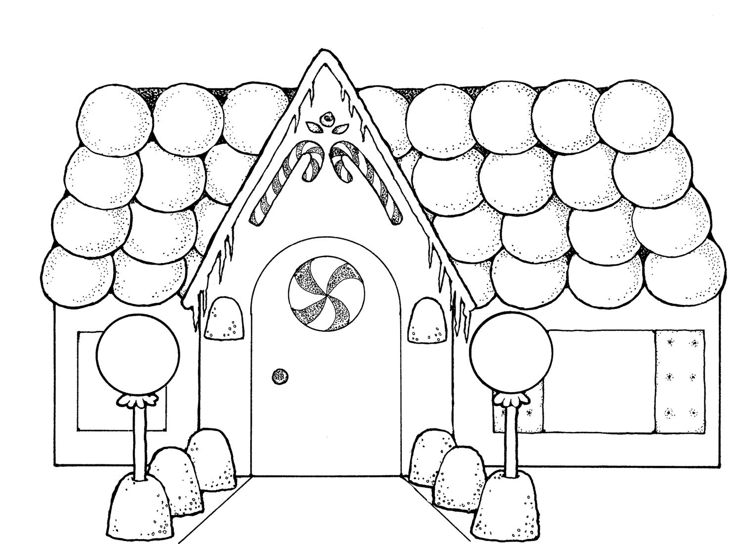 Cute Gingerbread Houses Coloring Page Sewing Pinterest