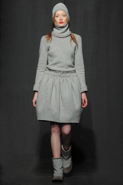 Julien David Grey Wool Dress in Gray (grey)   Lyst