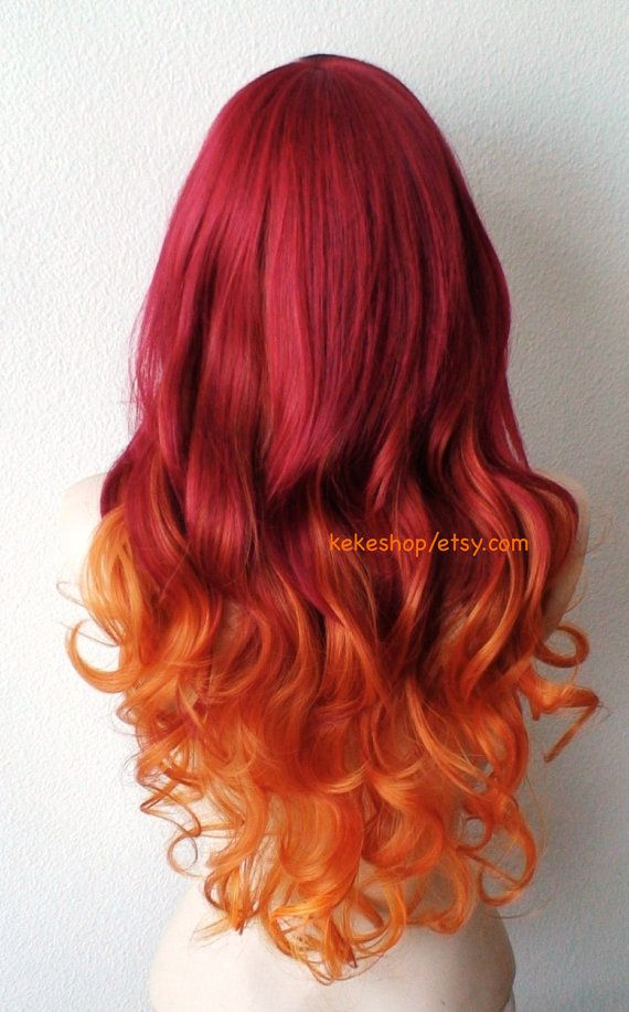 Ombre Wig Wine Red Ginger Orange Ombre Long Curly