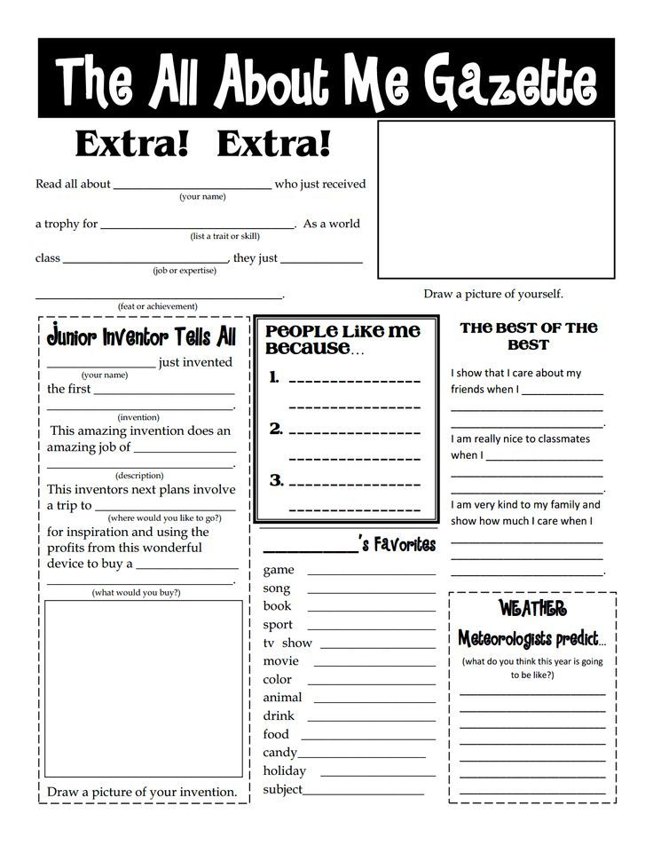 Worksheets For Teens : All about me worksheets for teens