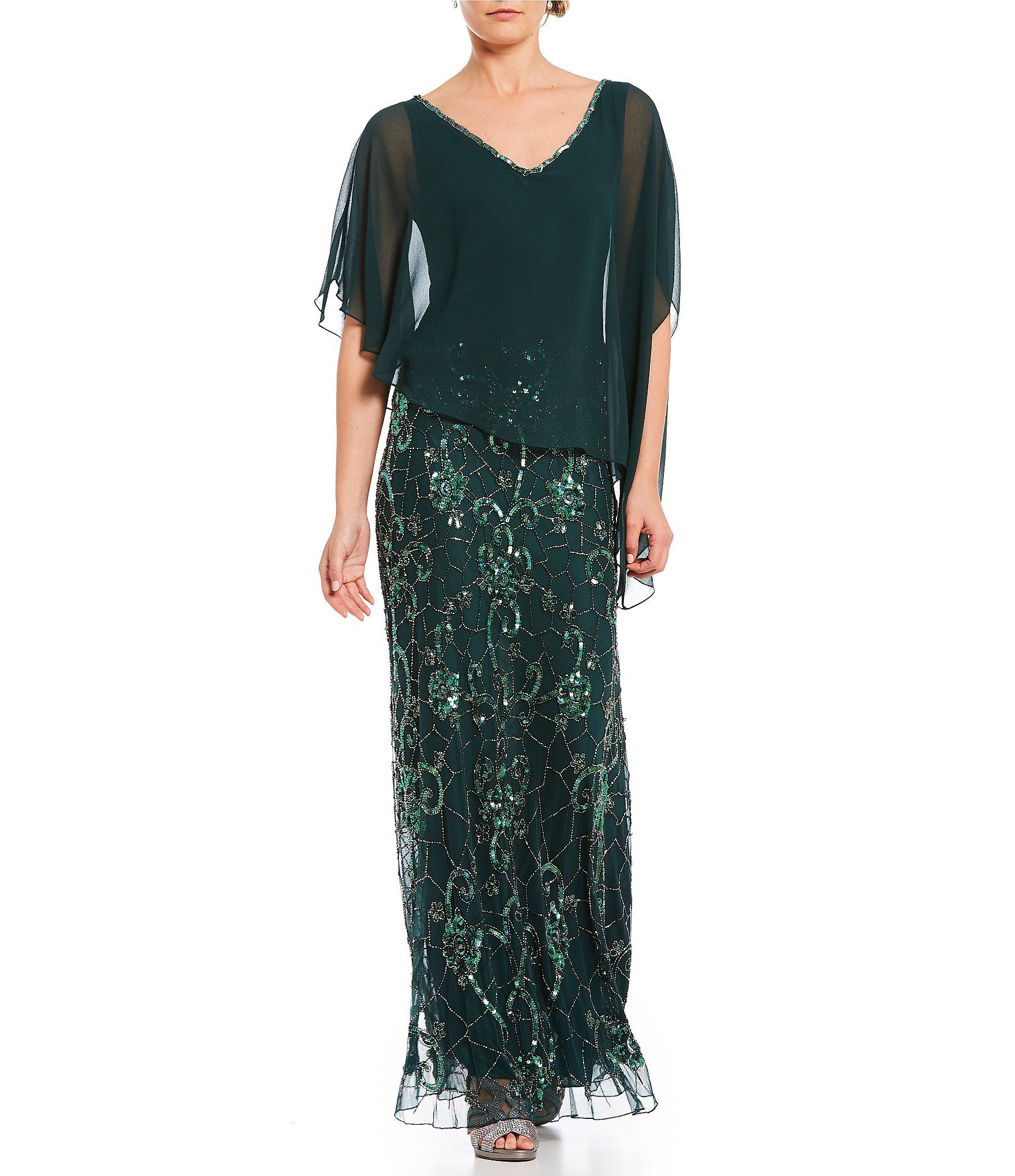 Jkara chiffon asymmetrical pop over gown dillards gowns and