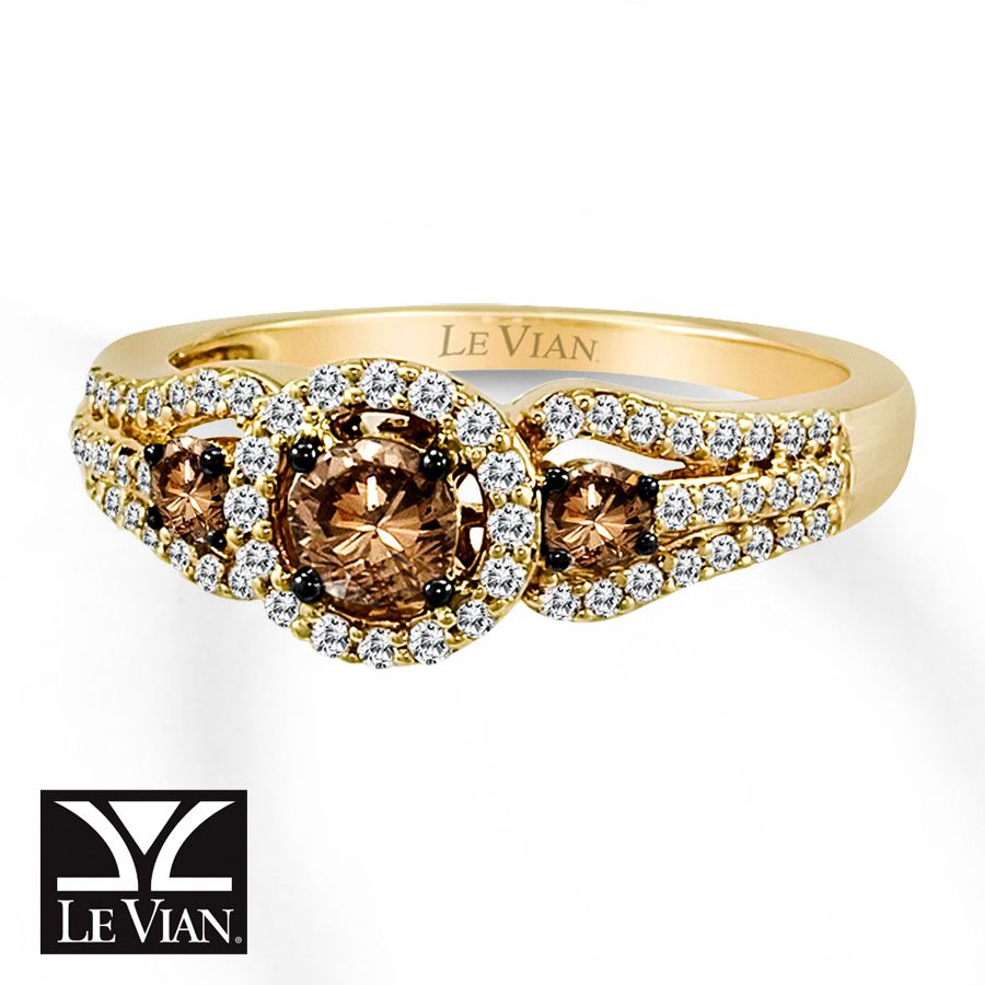 le vian chocolate diamond ring 3/4 ct tw round-cut 14k honey gold
