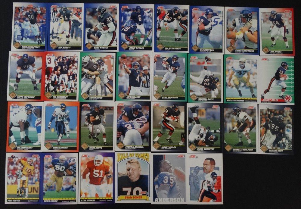 1991 score chicago bears team set of 34 football cards