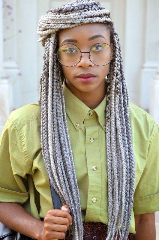 Grey Box Braids Google Search African Hairstyles Grey