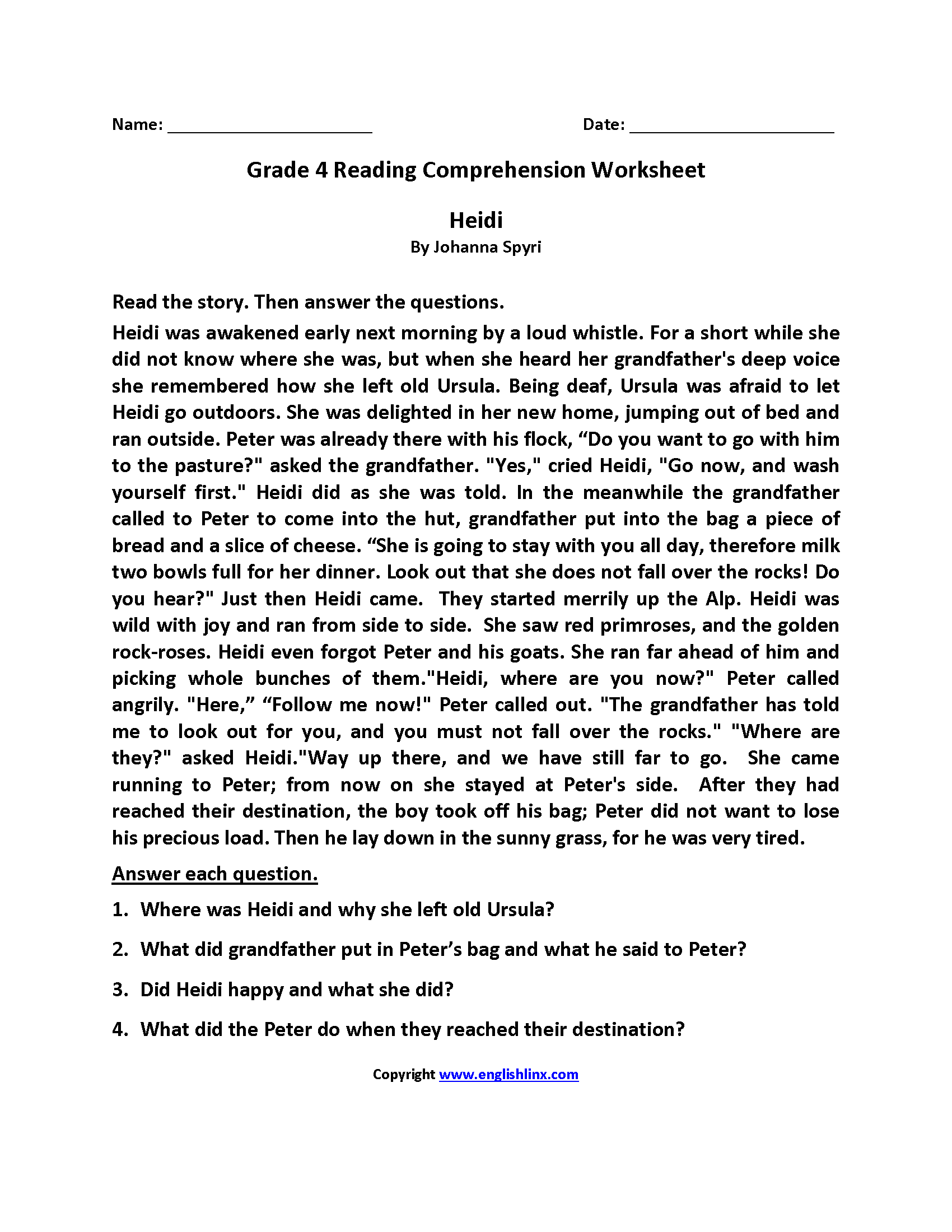Heidi Fourth Grade Reading Worksheets