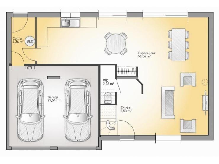 Plans de maison rdc du mod le horizon maison moderne for Maison contemporaine 110m2