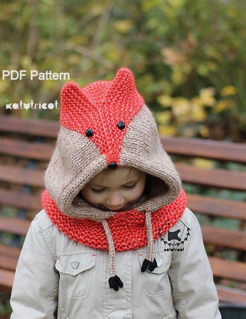 Tejer patrón - cuello ZORRO SLY (tamaños: bebé, niño, adulto)-Inglés ...