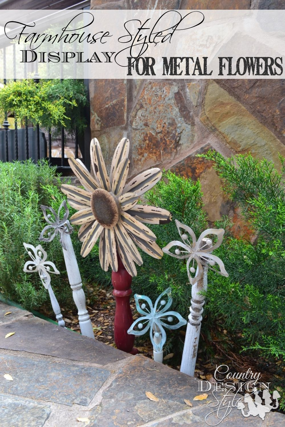 Garden decor out of junk  Farmhouse Metal Flowers  Just Cute or Creative   Pinterest
