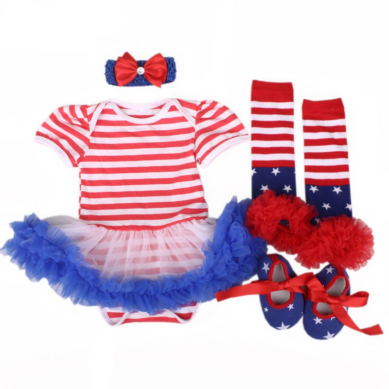 Flag Stars Romper Skirt with Headband 4th of July Baby Girl Outfits American Flag Striped Top