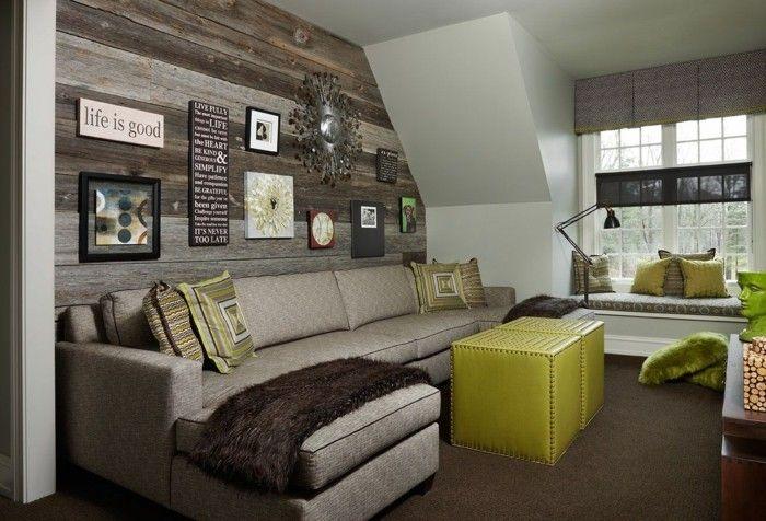 Wohnzimmer Holzwand ~ Moderne wandgestaltung wohnzimmer holzwand grüner couchtisch