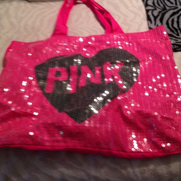 Vs large beach bag Pink sparkle vs large beach bag barely used Victoria's Secret Bags
