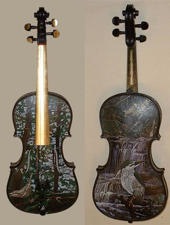 What a beautiful cello. The painting on it represents nature which really maces with the golden neck and the black keys!!!!