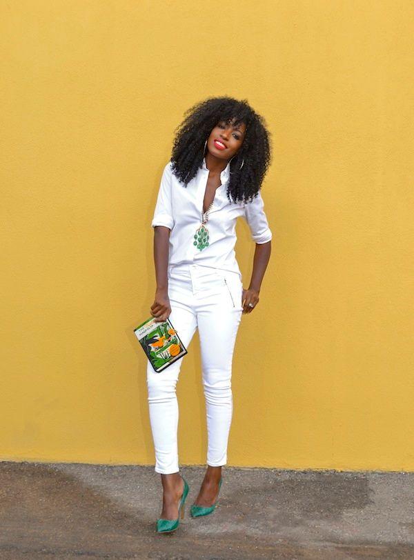 White Button-Up Shirt + White Moto Jeans