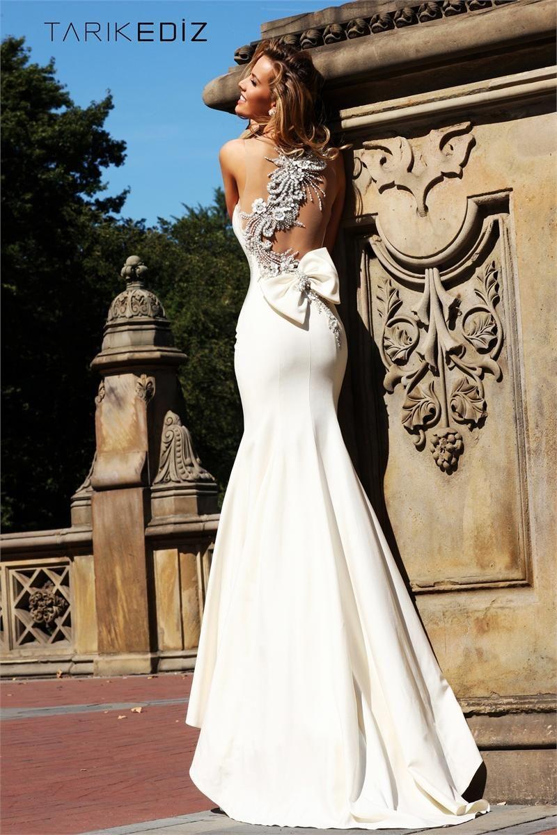 Wedding dress with bow on back  Tarik Ediz Evening dress   Like a princess  Pinterest