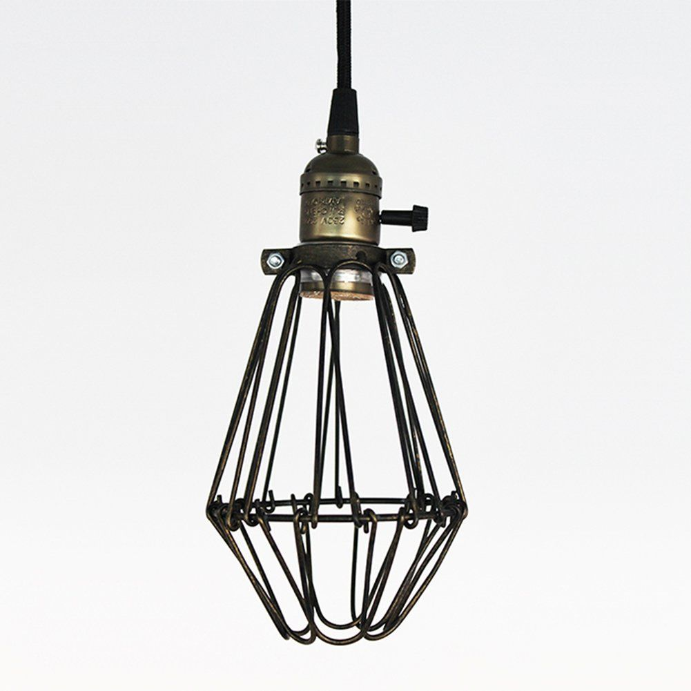 Ecopower vintage style industrial opening and closing hanging light claxy ecopower industrial opening and closing plug in pendant lighting wire cage lamp guard fixture amazon arubaitofo Images