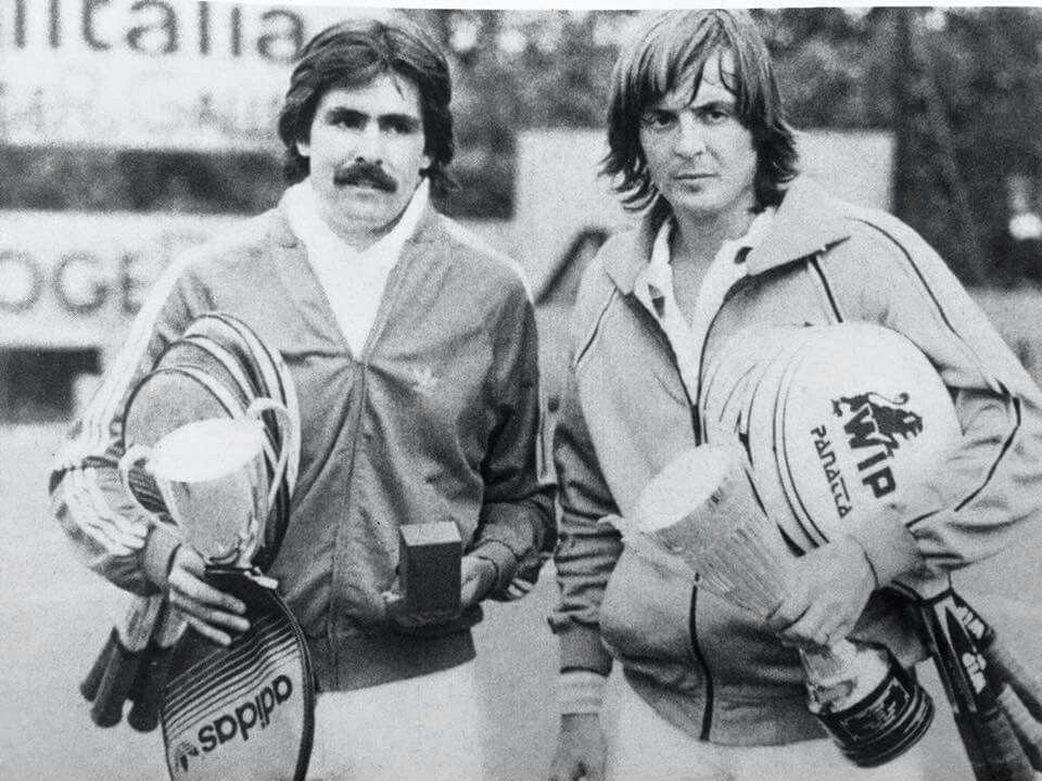 Adriano Panatta e Raul Ramirez alla finale a Firenze 1980. Adriano Panatta vince con il punteggio di 6/2 2/6 6/4.