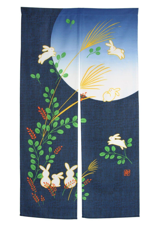 Xcellent Global Japanese Doorway Curtain Noren Rabbit Under Moon