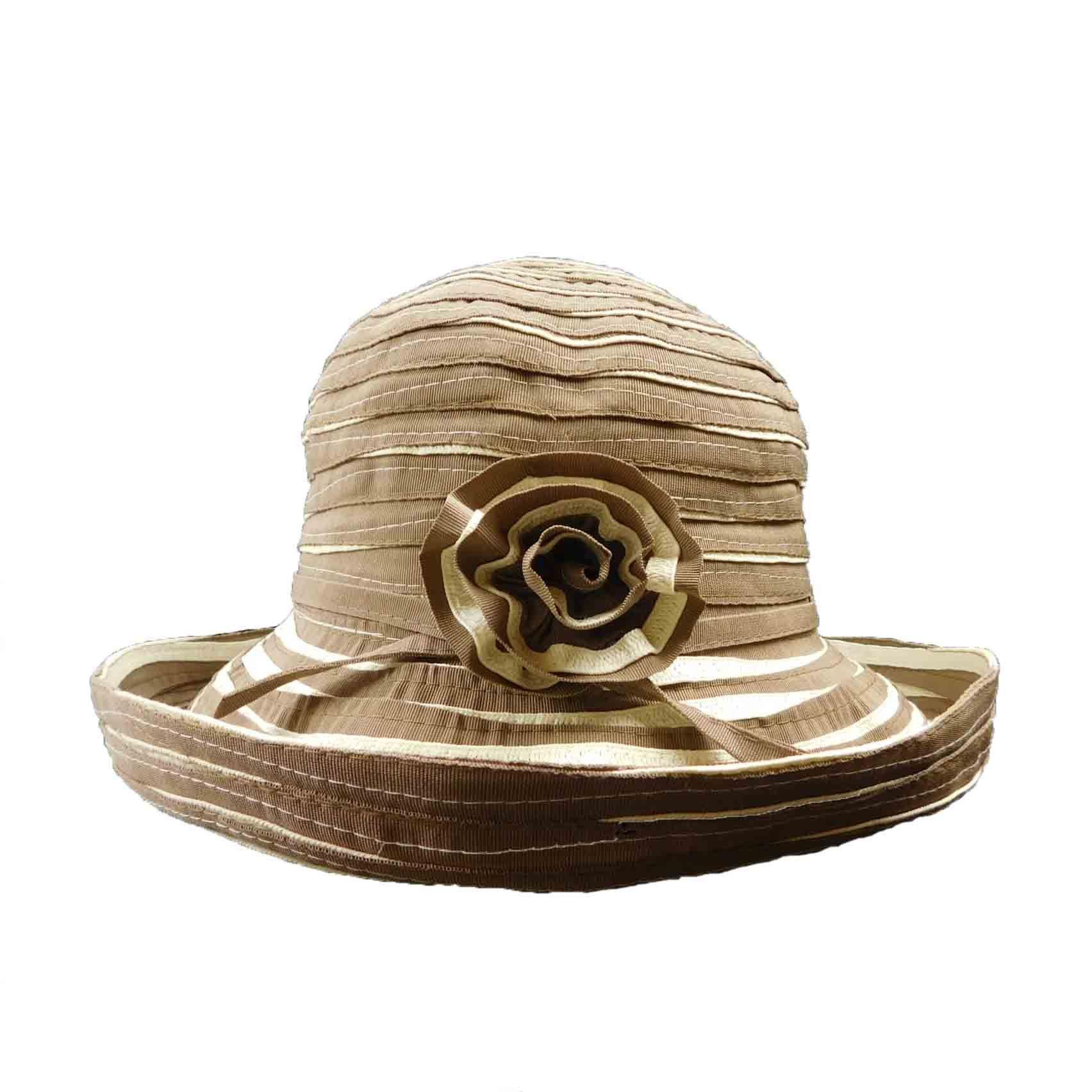 7cec0f0f792 Two-Tone Ribbon Kettle Brim Hat