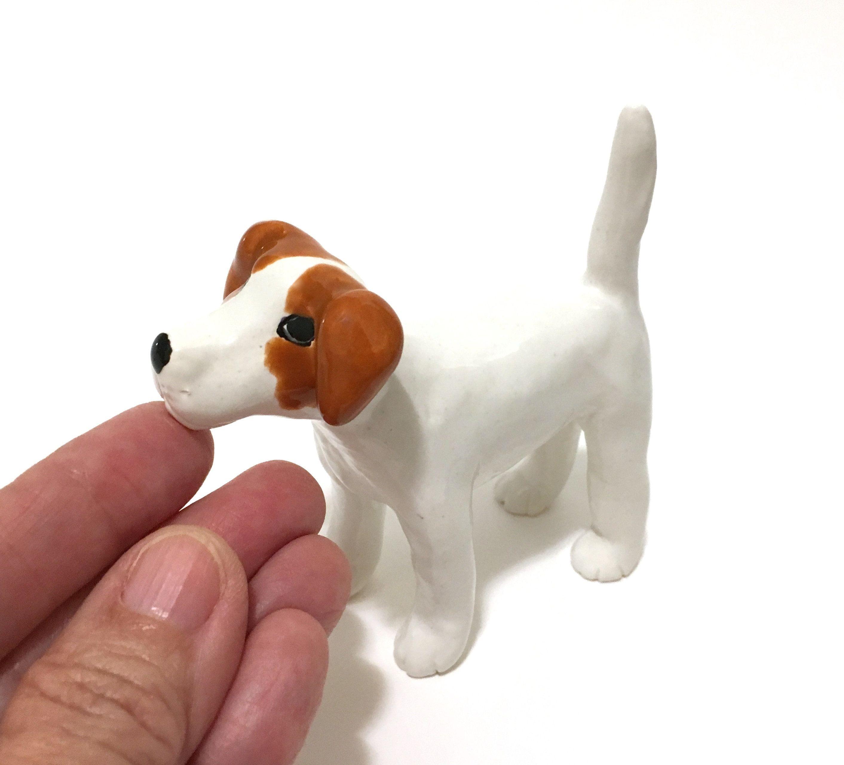 Jack Russell Terrier Sculpture, Dog Ring Holder, Handbuilt