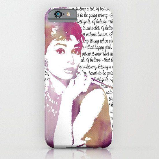 Audrey Hepburn Pink Quote iphone case, smartphone