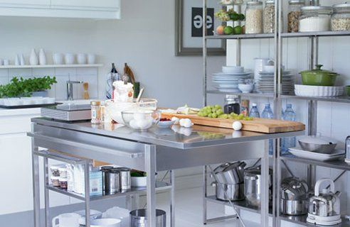 love to have a workspace in the kitchen like that just like a rh pinterest ie Stainless Steel Kitchen Island Countertop Stainless Steel Kitchen Island Countertop