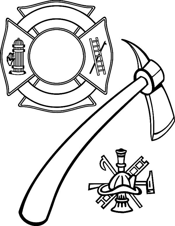 Maltese Cross And Firefighter Axe Coloring Pages