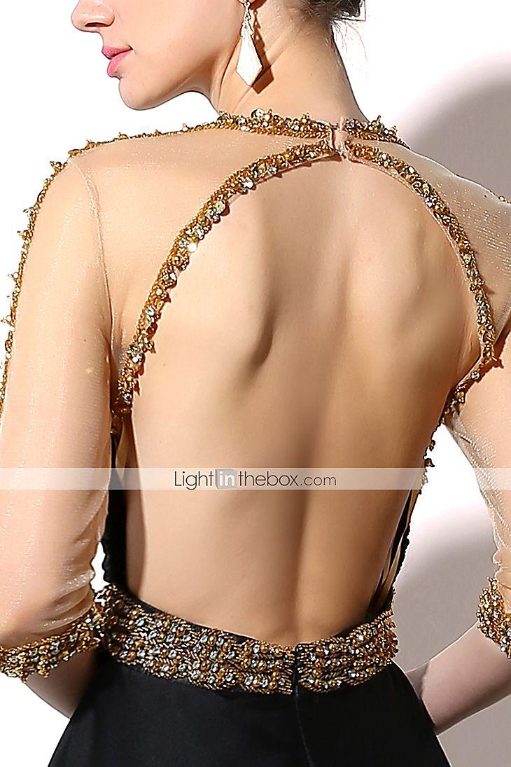 Evento Formal Vestido Tubinho Decorado com Bijuteria Longo Chiffon Acetinado com Detalhes em Cristal / Lantejoulas de 5249420 2016 por R$777,37