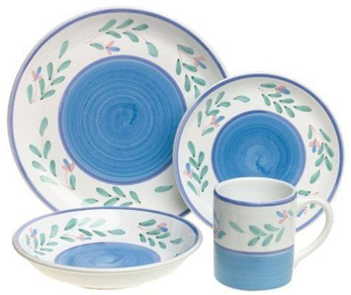 Chip-resistant. All natural majolica/ceramic components inidually hand-painted with non-toxic glazes and colors. Dishwasher safe; microwavable.  sc 1 st  Pinterest & Caleca Blue Garland 4 piece dinner plate set service for 4 by ...