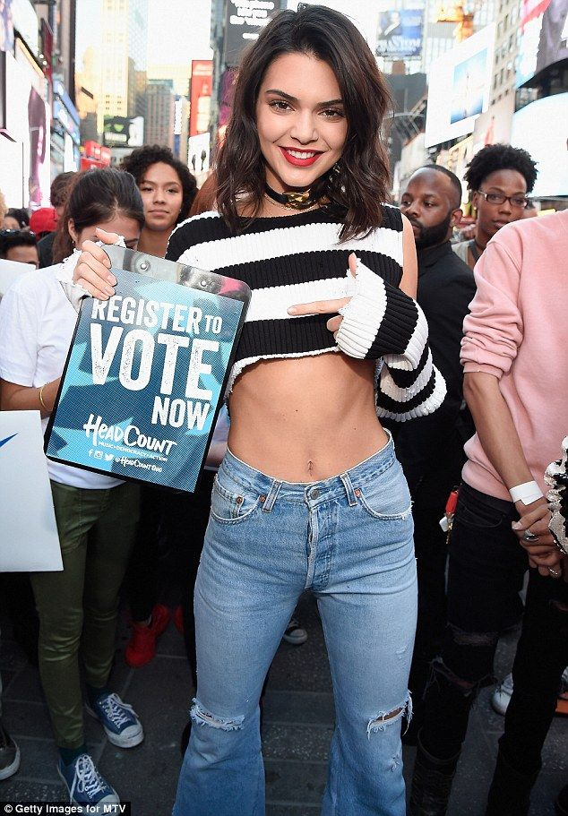 5bfa858f1dd Getting involved: Kendall Jenner was more than happy to take part when TRL  returned on Tuesday in the form of Total Registration Live, to encourage  young ...