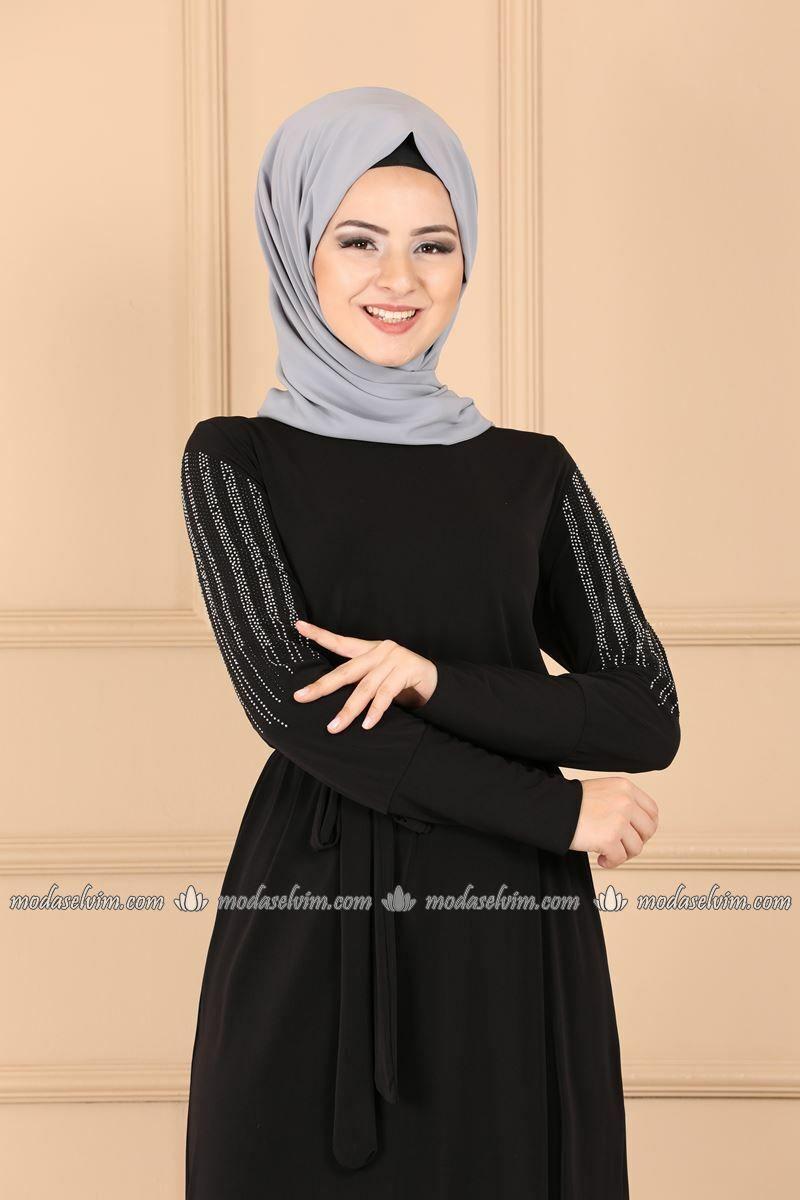 Moda Selvim Kollari Tasli Elbise Ferace 1660af356 Siyah Moda Elbiseler Giyim