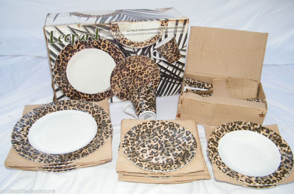 New 16 Piece Tienshan Fine China Porcelain Leopard Print Dish Set