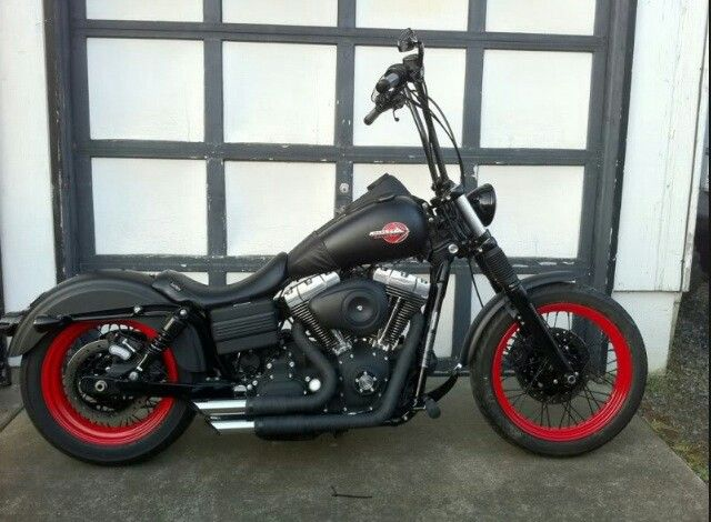 Matte Black With Red Accents Ape Hangers Harley Davidson Forum Harley Street Bob