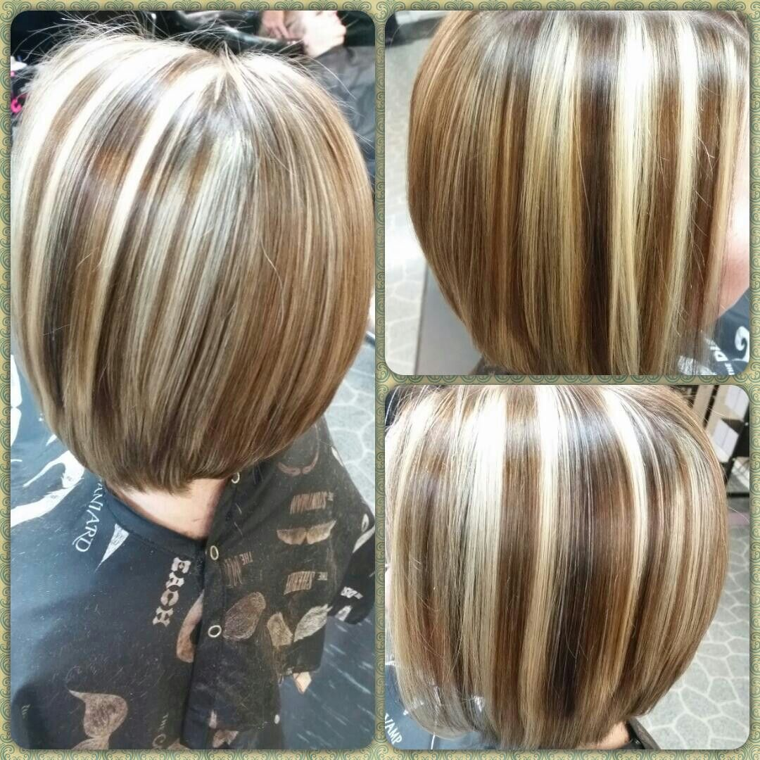 slight asymmetrical bob with blonde