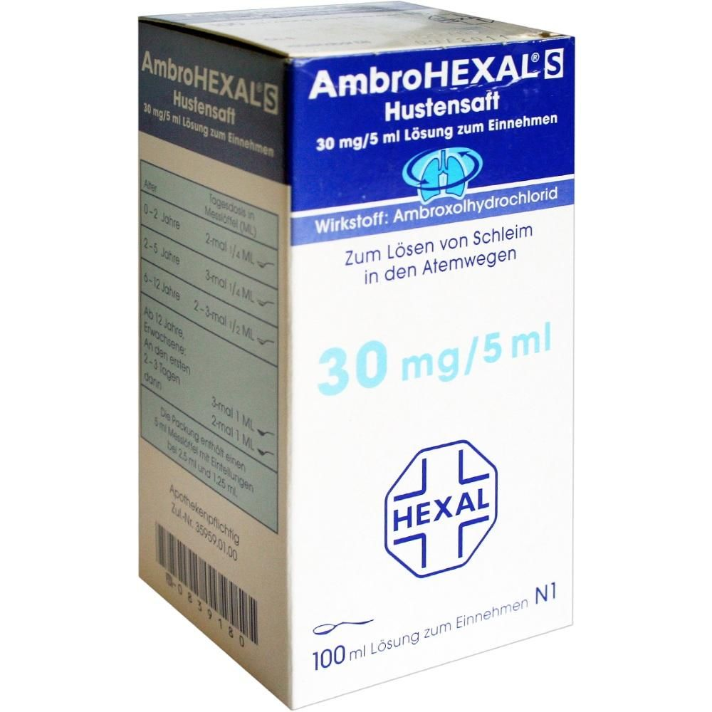 AMBROHEXAL S Hustensaft 30 mg-5 ml:   Packungsinhalt: 100 ml Lösung zum Einnehmen PZN: 00839180 Hersteller: Hexal AG Preis: 2,17 EUR…