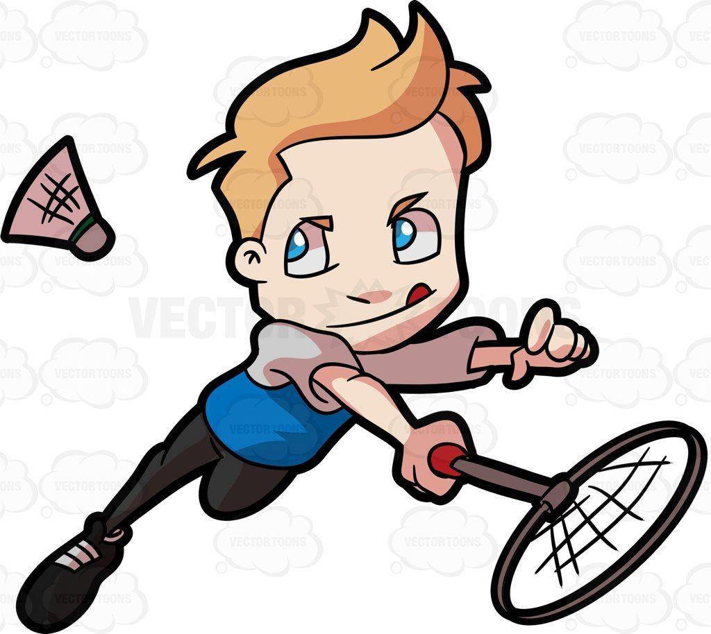 A Preadolescent Boy Playing Badminton Cartoon Clipart Vector Vectortoons Stockimage Stockart Art Badminton Boys Playing Boy Art