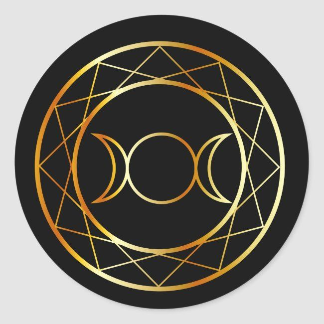Gold Wiccan symbol Triple Goddess Classic Round Sticker #ear #greeting #moon #paganism #pentagram #ClassicRoundSticker