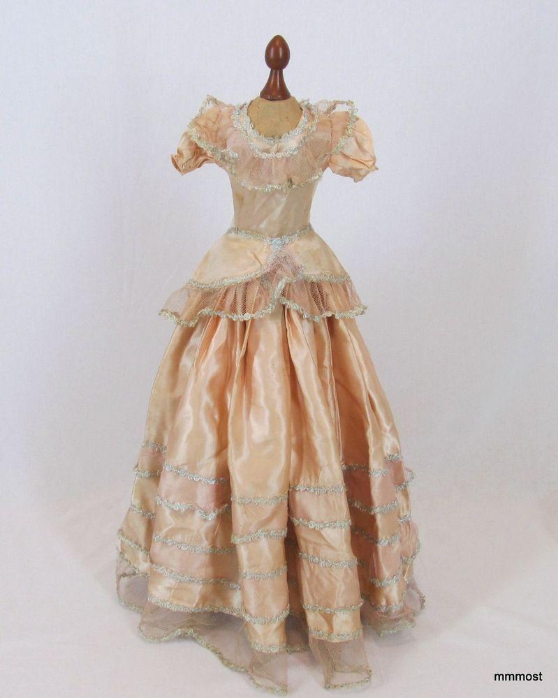 Vintage s s boudoir bed doll dress coral pink satin tulle