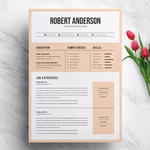 Modern Creative Resume Template For Ms Word Format Cv Etsy In