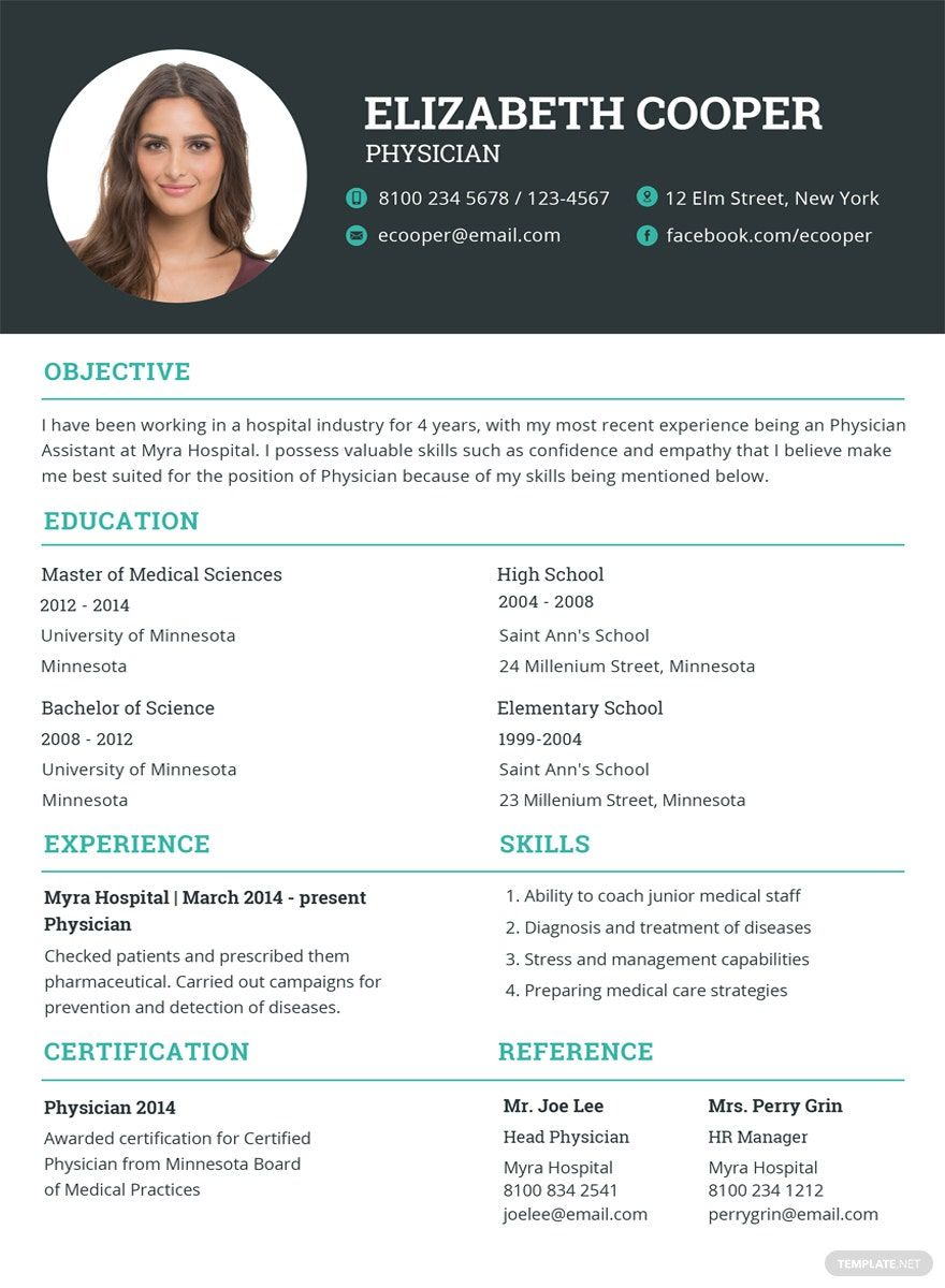 Free Physician Resume in 2020 Indesign resume template