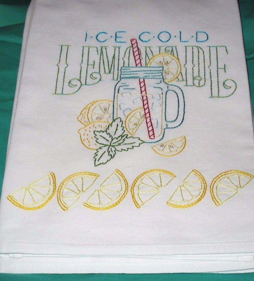 ICE COLD LEMONADE - New Hand embroidered 30 X 30 flour sack kitchen dish towel #dishtowels