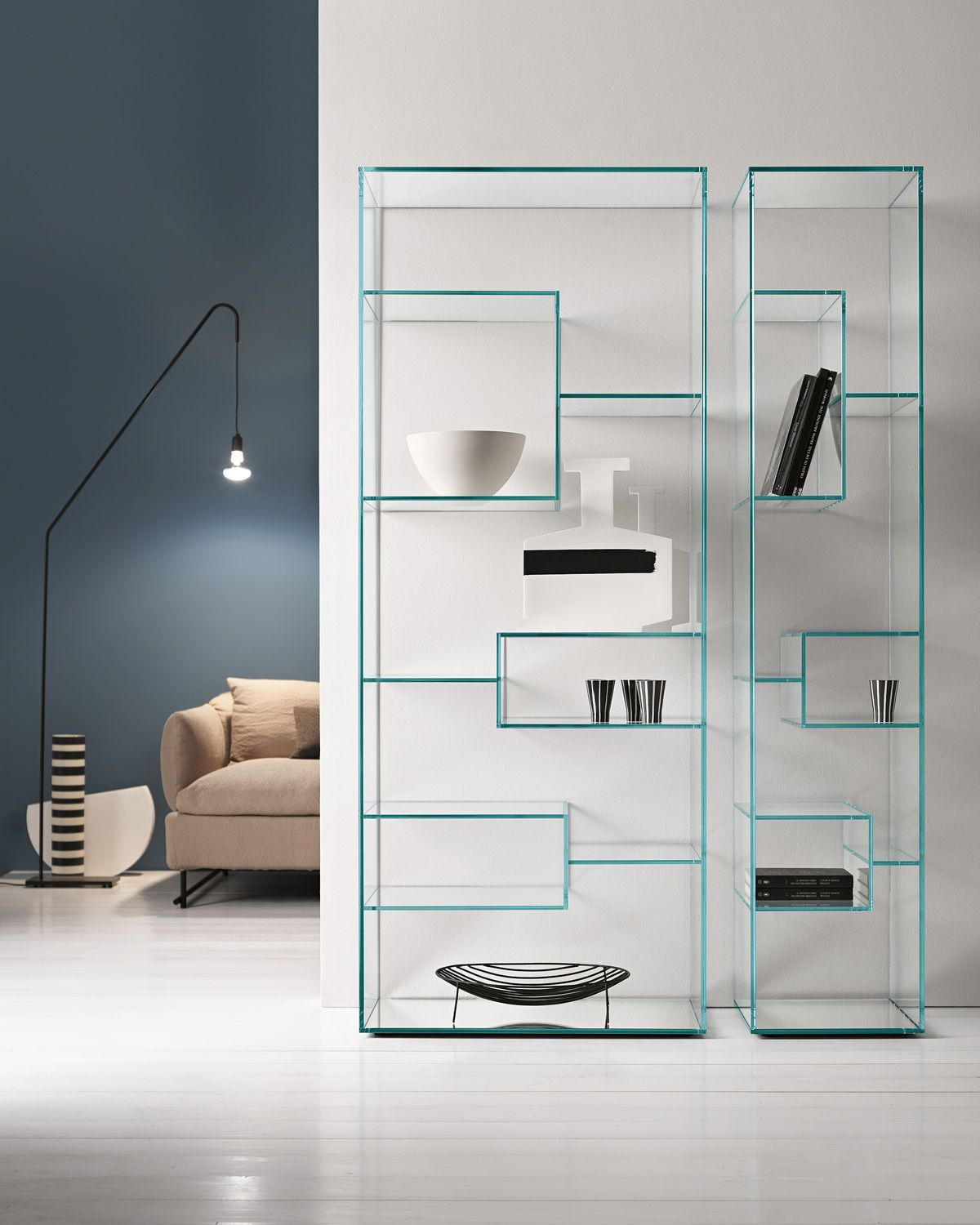 Contemporary bookcase / glass LIBER A by Luca Papini ...