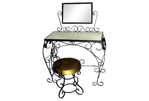 1950s Wrought Iron Dressing Table And Vanity Stool Vanity Stool