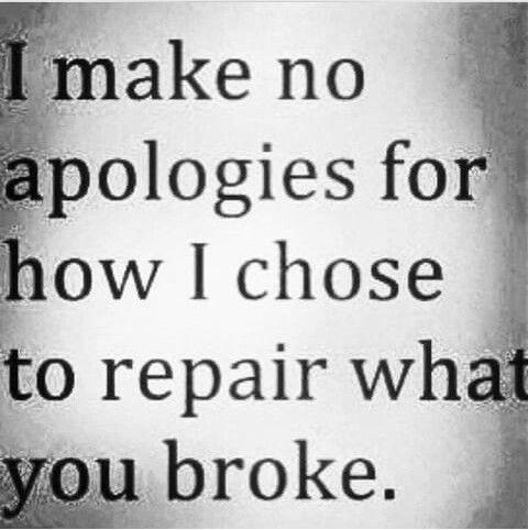 I Make No Apologies For How I Chose To Repair What You Broke