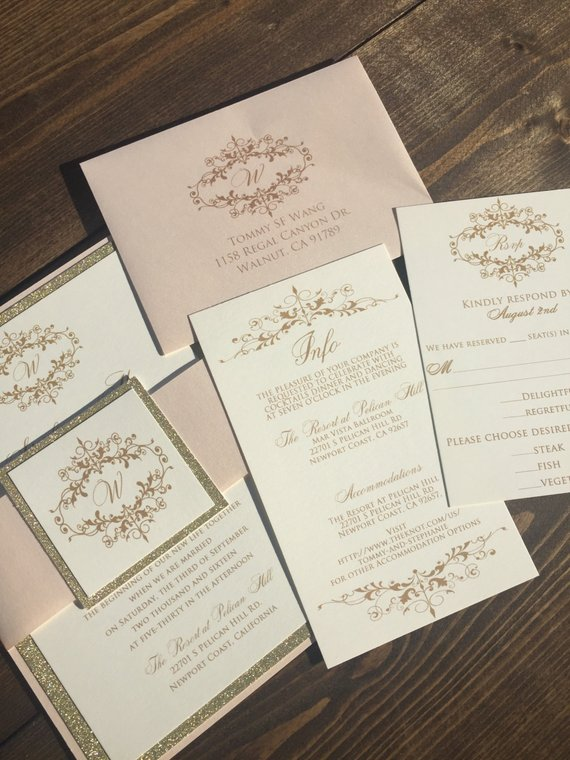 Glitter Wedding Invitations - Gold Wedding Invitation