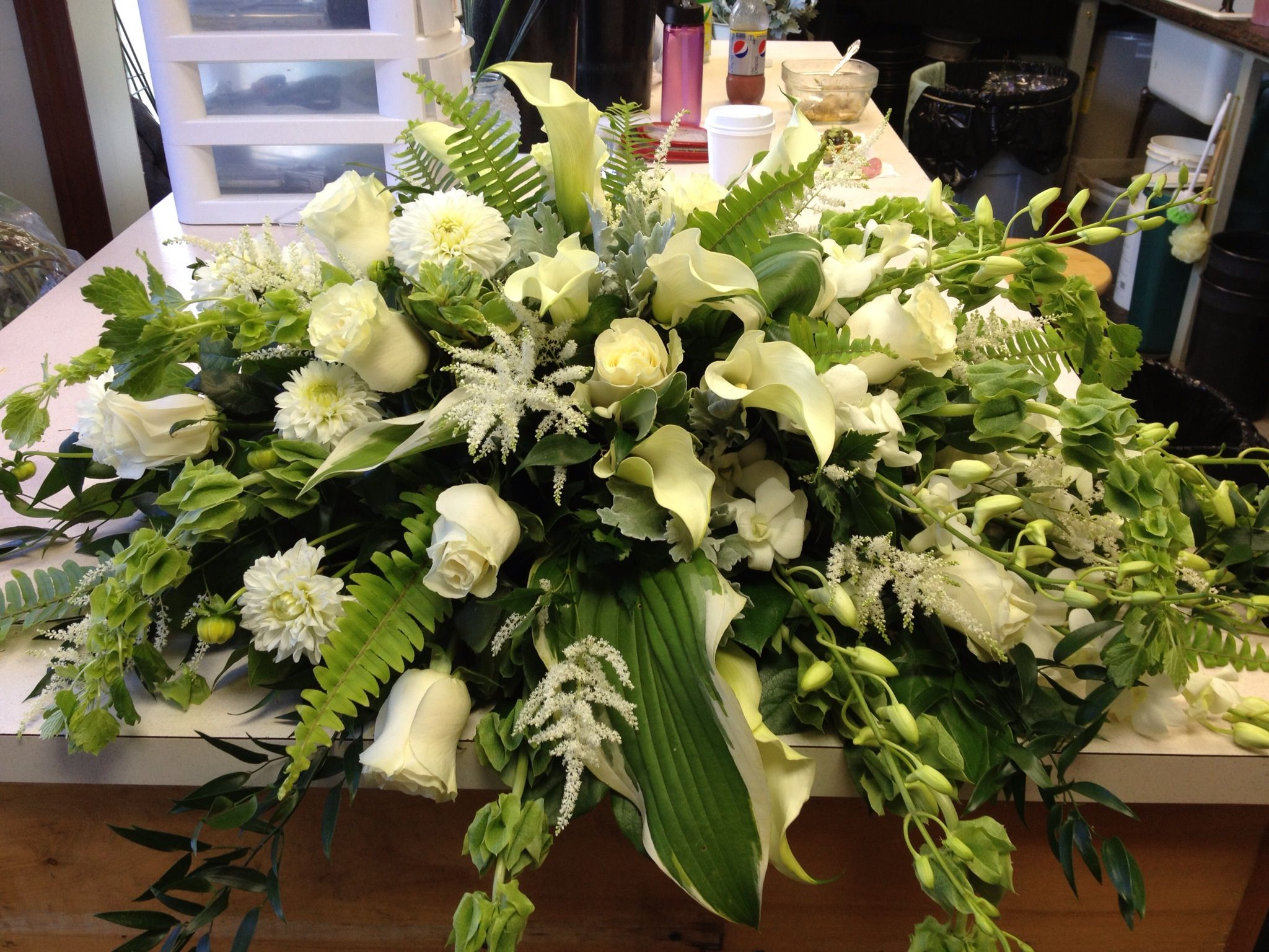 Simply Elegant White Casket Spray Funeral Flower Arrangements Funeral Arrangements Casket Flowers