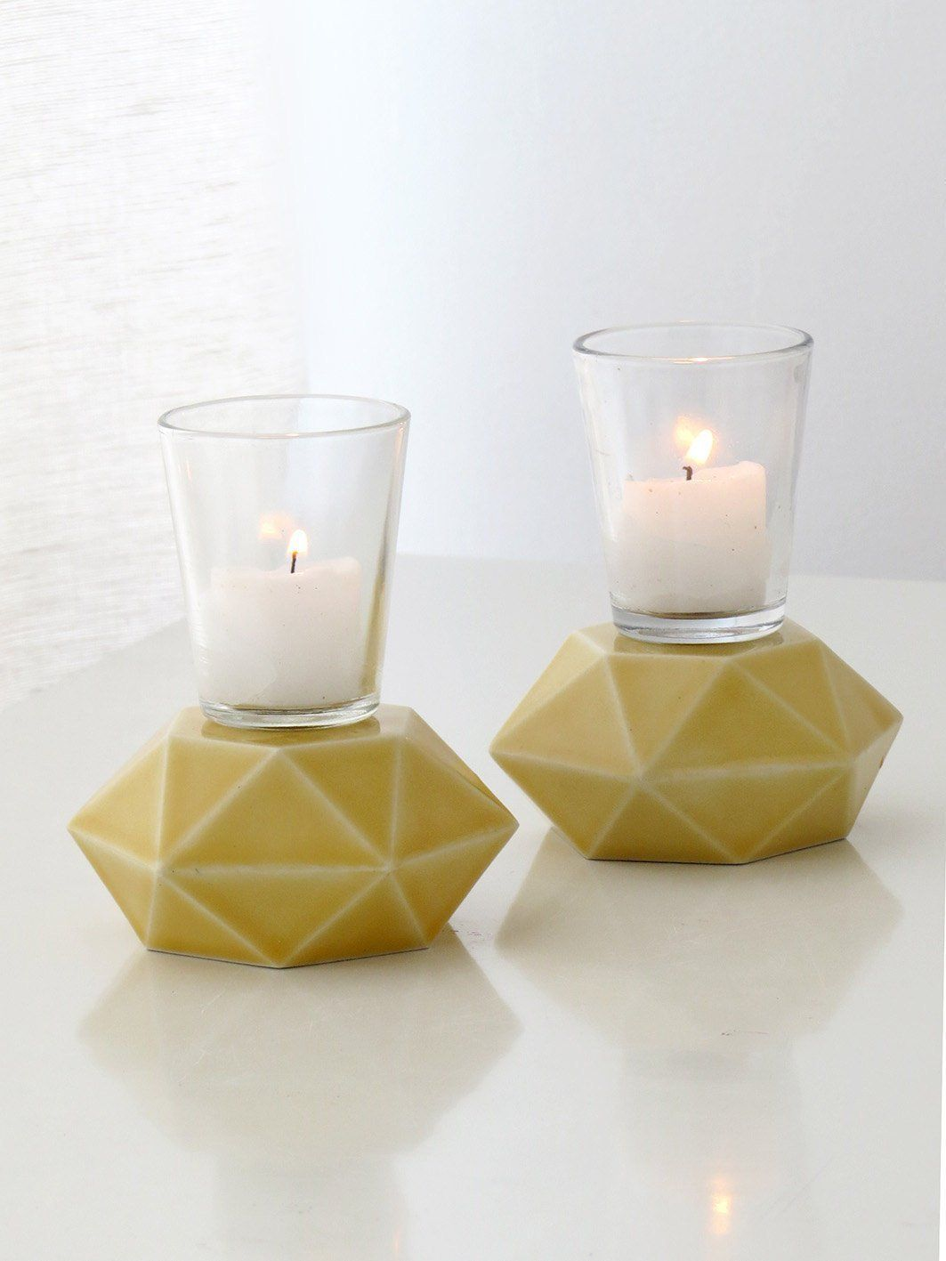 Handmade yellow candlesticks pair of hexagon ceramic candle holders