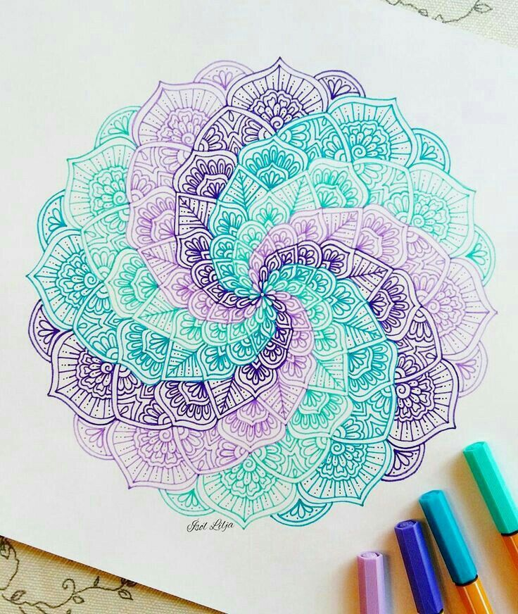 Bright Colors Teal Purple Pink Blue Sketching Doodles