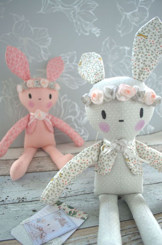 PDF sewing pattern Doll, soft toy, Bunny , \'BOBBY BUNNY\' Dolly ...