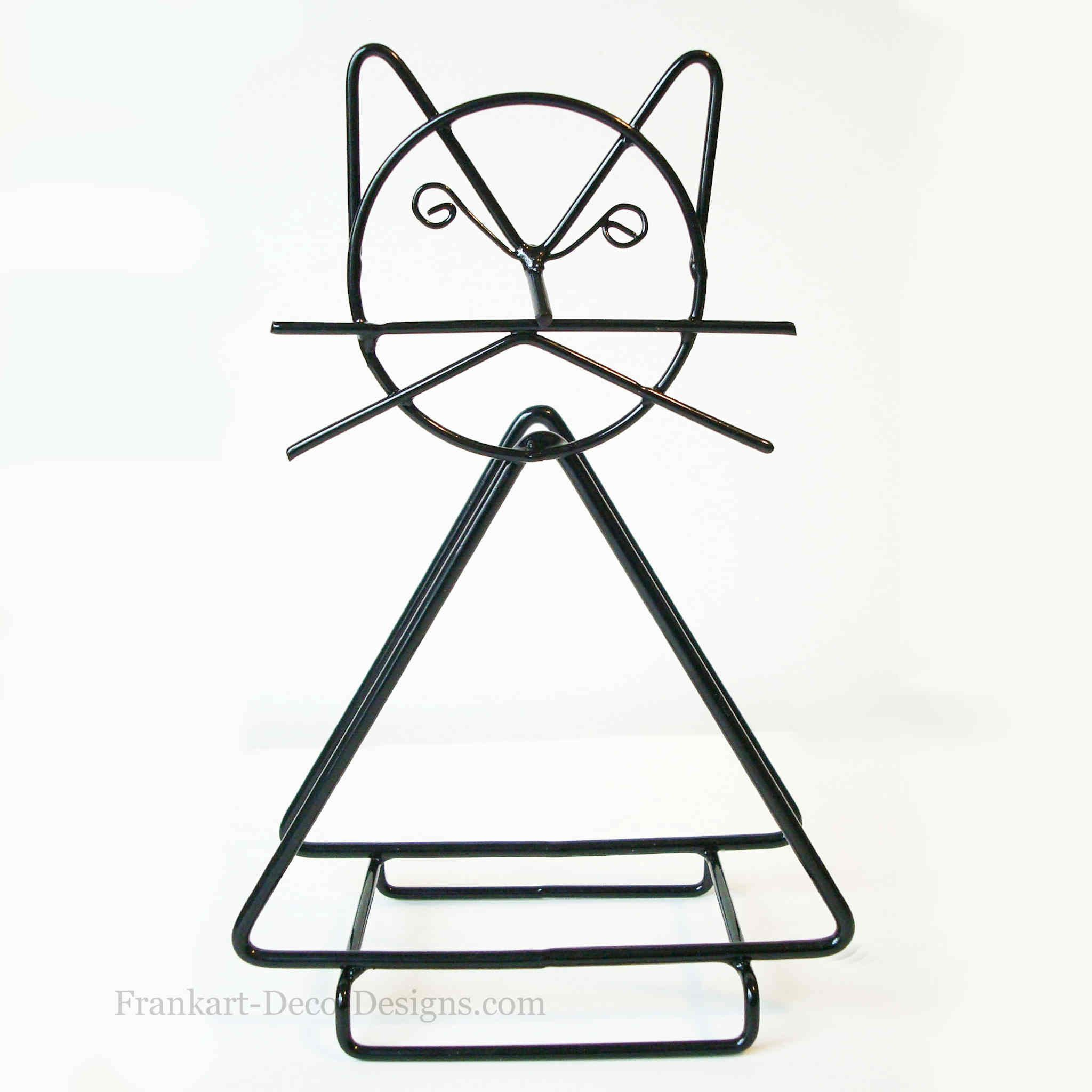 Whiskered Cat Retro Moderne Metal Wire Napkin Or Letter